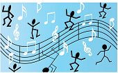 musical scale with dancing stickmen