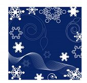 netting over blue  with snowflakes and filigree