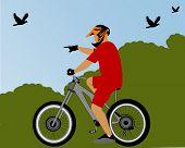 piloto de bicicleta no Parque
