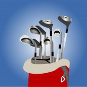 golf clubs in bag illustration