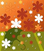 flowers in spring rain vector