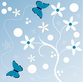 fun flower with butterfly vector