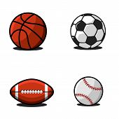 Set Of Balls For Football Or Soccer, Basketball, American Football Or Rugby, Baseball. Collection Of poster
