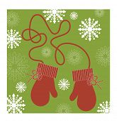 red mittens on a string vector (use with or without string)