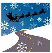 santa over road vector