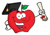 picture of cartoon character  - Happy Apple Character Graduate Holding A Diploma - JPG