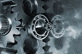 gears and bearings reflecting in titanium