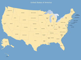 image of usa map  - USA map with names of the states - JPG