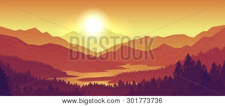 poster of Mountain Sunset Landscape. Realistic Pine Forest And Mountain Silhouettes, Evening Wood Panorama. Ve