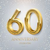 60th Anniversary Celebrating Golden Text And Confetti On Light Blue Background. Vector Celebration 6 poster