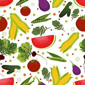 Vector seamless pattern with vegetables and fruits on white background.