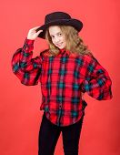 Check Out My Fashion Style. Fashion Trend. Feeling Awesome In This Hat. Girl Cute Kid Wear Fashionab poster