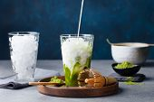 Matcha, Green Tea Ice Tea Pouring In Tall Glass On Wooden Plate. Grey Stone Background poster