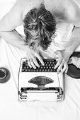 Writing Routine. No Day Without Chapter. Vintage Typewriter Concept. Man Typing Retro Writing Machin poster