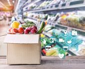 Online Grocery Concept. Shopping Order Online Ingredients Food For Cooking And Packages Box With Ico poster