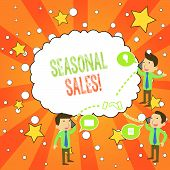 Writing Note Showing Seasonal Sales. Business Photo Showcasing Discount Which Is Offered On Goods At poster