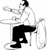 man spectacled is at a table