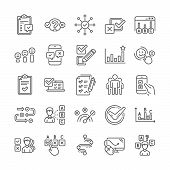 Survey Review, Report Quiz Line Icons. Opinion, Customer Satisfaction Feedback And Test Survey Icons poster