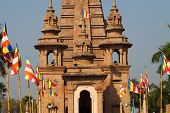 stock photo of vihara  - Beautiful towers of modern Mulagandhakuti Vihara temple sarnath - JPG