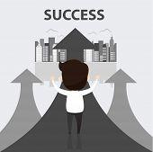 Businessman Walking On Gray Arrow. Businessman Of Success, Arrow Finance Up, Arrows Business Profit  poster