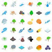 Land Icons Set. Isometric Style Of 36 Land Icons For Web Isolated On White Background poster