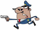 männlich schwarz Polizisten mit einer Pistole