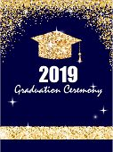 Graduation Ceremony Banner With Golden Graduate Cap, Glitter Dots On A Dark Blue Background. Congrat poster