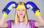 Headache Concept. Keep Calm And Get Rid Of Headache. Beat Headache. Girl Boxing Gloves Tired To Figh poster