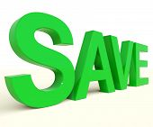stock photo of bartering  - Save Word In Green As Symbol For Discounts Or Promotion - JPG