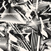 Abstract Black And White Grunge Seamless Pattern. Urban Art Texture With Chaotic Shapes, Lines, Tria poster