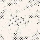 Abstract Black And White Grunge Seamless Pattern. Urban Art Texture With Chaotic Shapes, Dots, Trian poster