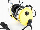 Pilot Yellow Headphones. Headphones For Pilots. Aviation Headphones For Pilots. poster