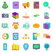 Large Storage Icons Set. Cartoon Set Of 25 Large Storage Icons For Web Isolated On White Background poster