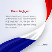 Ribbon Flag Of France And Text Happy Bastille Day On A Light Background Brochure Banner Layout With  poster