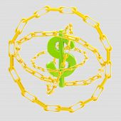 Dollar sign encircled with golden chains isolated