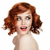 stock photo of red hair  - Beautiful smiling woman portrait on white background - JPG