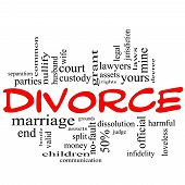 image of split ends  - Divorce Word Cloud Concept scribbled in red with great terms such as end marriage end laws infidelity split children and more - JPG
