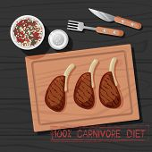 Vector Illustration Of M Meal Of Carnivore Diet. Healthy Nutrition Concept For Meat Lovers. Great Fo poster