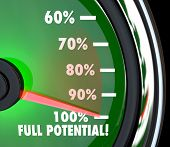 A speedometer with needle pointing to 100% Full Potential to symbolize that your maximum potential o
