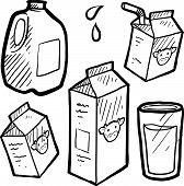 Milk and juice carton sketch