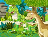 Cartoon Scene With Dinosaur Apatosaurus Diplodocus Brontosaurus With Some Other Dinosaur With His Or poster