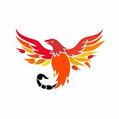 Icon Retro Style Illustration Of A Mythical Phoenix Or Firebird Of Greek Mythology With A Tail Of A  poster