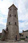 Historic church tower in Nin, Croatia
