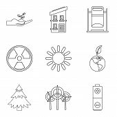Clean Environment Icons Set. Outline Set Of 9 Clean Environment Icons For Web Isolated On White Back poster