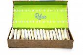 Gift Box of Marijuana Joints. Present box of Cannabis Cigarettes. Medical Cannabis. Recreational Mar poster