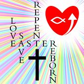 stock photo of atonement  - the easter story is one of love leading to salvation - JPG