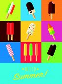Vibrant Hello Summer Poster With Flat Design Popsicles And Ice Lollies poster
