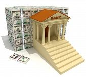 stock photo of bank vault  - Bank and heap of dollar banknotes