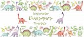 Horisontal Banner From Cartoon Watercolor Dinosaurs. Cute Hand Drawn Funny Illustration Of Dinosaurs poster