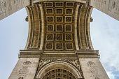 Paris Arc De Triomphe (triumphal Arch) In Chaps Elysees At Cloudy Sky, Paris, France. Architecture A poster